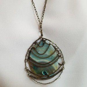 Bronze Chain Encased Blue Stone Pendant Necklace